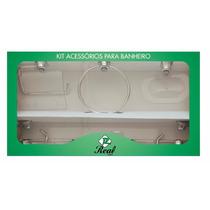 Kit Acessórios Para Banheiro 7 Peças Alumínio / Acrílico