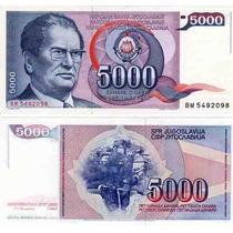 Billete De Yugoeslavia Año 1985 5.000 Dinara Sin Circular