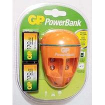 Baterías Pilas 9v Cargador Marca Gp + 2 Baterías Recargables
