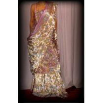 Sari De Seda Rasada, Importado De La India. Vestido Hindu,