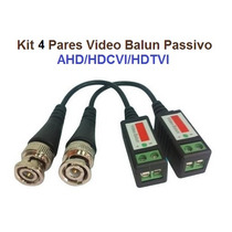 Kit 4 Pares Video Balun Cftv Ahd Analogico Passivo Bnc