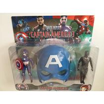 Máscara 2 Bonecos Capitão América E Pantera Negra Articulado