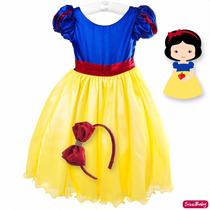 Vestido Branca De Neve Infantil Luxo 4 Ao 12 Com Tiara