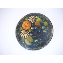 Broche Antiguo De Madera Pintado A Mano Flores Siglo Xlx