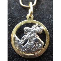 Medalha Pingente Sâo Jorge Ouro Amarelo Branc Christianjoias