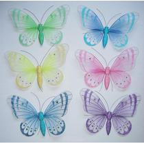 Mariposas De Organza Surtido De Colores 40 X 30 Cms.