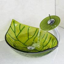 Lavabo Cristal Templado Pintado A Mano Naturaleza Monomando