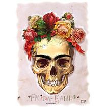Camiseta Manga Curta Infantil Frida Kahlo Caveira