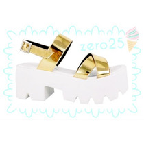 Zapatos Mujer Sandalia Plataforma Blanco Dorado Oferta Sale