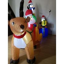 Inflable Navidad Santa Con Renos Luces Led