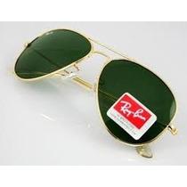 Óculos Aviador Rb3025 Dourado-verde G15 +promoção+brinde