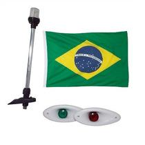Kit Luz De Popa Led + Olho De Tubarao Bco + Bandeira Brasil