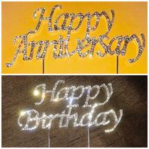 Adorno Para Pastel, Cake Topper Happy Birthday Y Anniversary