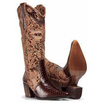Bota Botina Feminina Couro Nobre Cowboy Country Exclusiva