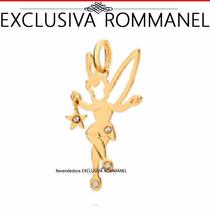 Rommanel Pingente Sininho Folheado Ouro Cristal 3,4cm 541153