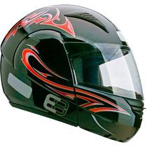 Capacete Esportivo Moto Ebf E08 Tribal P05 58 Preto Vermelho