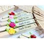 50 Unid Leque Personalizado C/ Nomes + Botão De Rosas