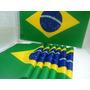 Bandeira Do Brasil P/carro C/haste 46cm X 30cm C/10 Unidades