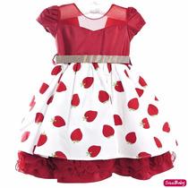 Vestido Moranguinho Luxo Festa Infantil Com Faixa