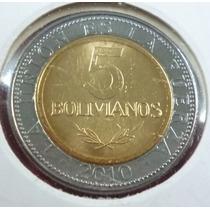 Bolivia Moneda Bimetalica 5 Bolivianos 2010 Unc