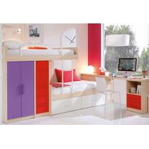 Dormitorio Infantil, Camas Desplazadas + Escritorio