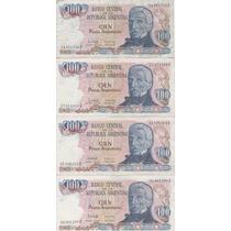 Cuatro Billetes Argentinos Cien Pesos Muy Buen Estado