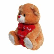 Urso De Pelúcia Grande Com Coração Marrom