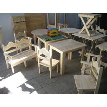 En Nuñez. Mesa Y 2 Sillas Infantiles P/ Chicos, Madera Pino
