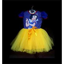 Vestido Infantil Festa Branca De Neve Bailarina Fantasia