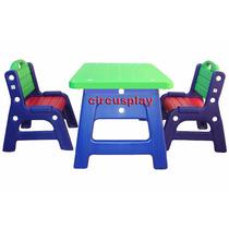 2 Sillas + Mesa Plastica Plaza Infantil Resistente Niños