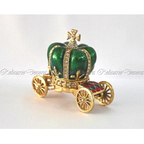 Porta Joia Carruagem Verde Pintura Porcelana Design Coroa