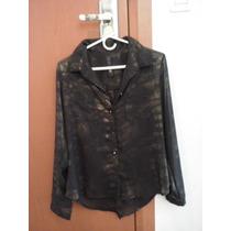 Camisa De Gasa Negra Con Dorado Talle L, Nueva