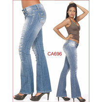 Calça Feminina Flare Boca De Sino Da Sawary Jeans Delavê 696