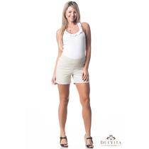 Shorts Bora Bora Areia/araquari P - Moda Gestante Due Vita