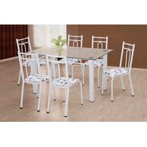 Mesa Com 6 Cadeiras Conjunto Júlia Tampo De Vidro Artefamol
