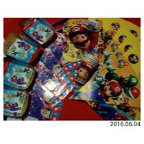 Combo Fiesta Cotillon De Mario Bros 25 Articulos