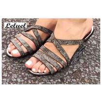 Rasteirinha Baixa Pedra Preta Tiras Tranç Marca Leluel Shoes