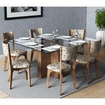 Conjunto De Mesa Dalla Costa Tm25 Com 6 Cadeiras Ca22 Estofa