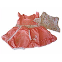Vestido Com Coletinho Bebê Menina Salmão Kb 458
