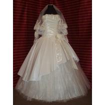Vestido De Novia,importado,col Champagne,corset,enagua,velo.