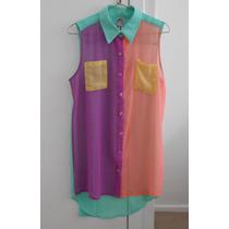 Camisa De Mujer Wila Sin Mangas Colores Bolsillos Botones Tm
