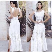 Vestido Longo Tricot Decote Nas Costas Renda Moda Feminina