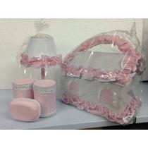 Kit Decoração Para O Quarto Do Bebê Abajur Farmacinha Rosa