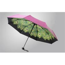Paraguas Sombrilla Fucsia Diseño Plumas De Pavo Real Parasol