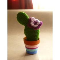 Cactus Tejidos Crochet Con Maceta Decorada.