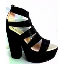 Sandalias Plataforma Taco Alto Negra Blancas Fior Moda Mujer
