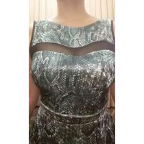 Vestido Veludo Transparente Estampado Rodado Novo C/ Etiquet