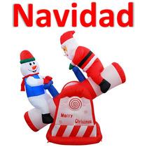 Navidad Inflable Sube Y Baja Santa Claus Promoción