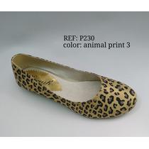 Zapato Baleta Mujer Animalt Print Sintetico Envio Gratis