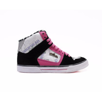 Tenis Drop Dead Sista Just Dance Preto Branco Pink